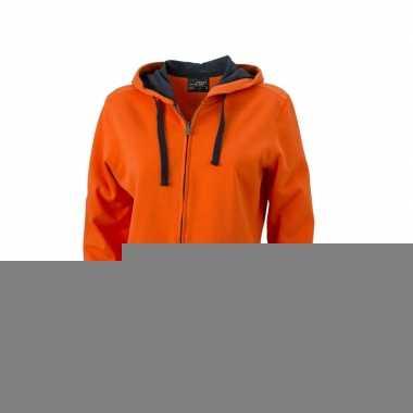 Oranje damesvestje met donkergrijze ritssluiting