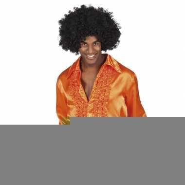 Oranje disco overhemden met rouches