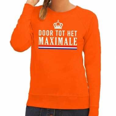 Oranje door tot het maximale sweater voor dames