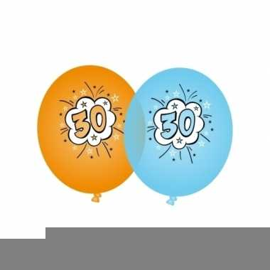 Oranje en blauwe ballonnen 30 jaar