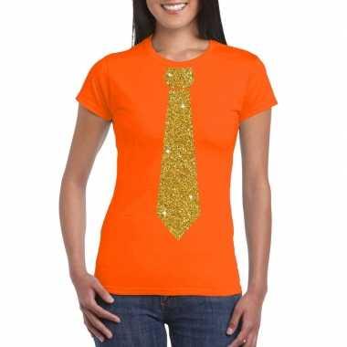 Oranje fun t-shirt met stropdas in glitter goud dames