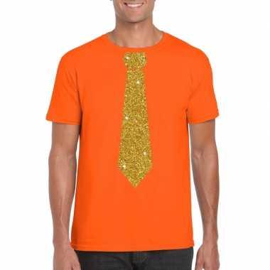 Oranje fun t-shirt met stropdas in glitter goud heren
