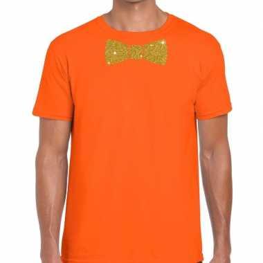 Oranje fun t-shirt met vlinderdas in glitter goud heren