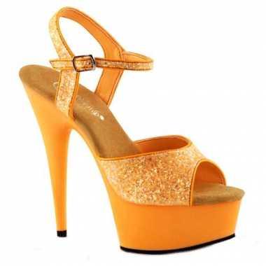 Oranje glitter sandalen met enkelbandje