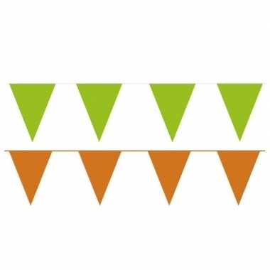 Oranje/groene feest punt vlaggetjes pakket 120 meter