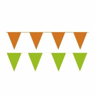 Oranje/groene feest punt vlaggetjes pakket 60 meter