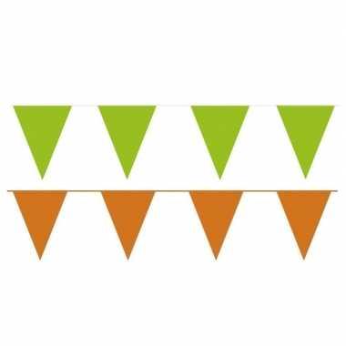 Oranje/groene feest punt vlaggetjes pakket 80 meter