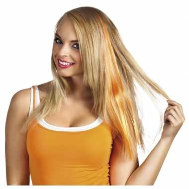 Oranje hair extensions clip in voor dames