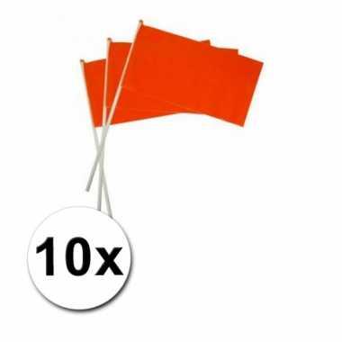 Oranje hand vlaggetjes 10 x