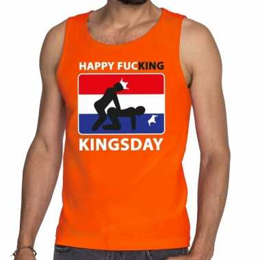 Oranje happy fucking kingsday tanktop / mouwloos shirt heren
