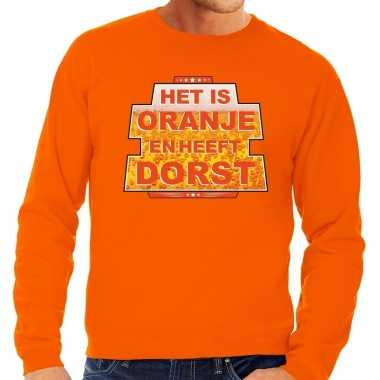 Oranje het is oranje en heeft dorst sweater heren