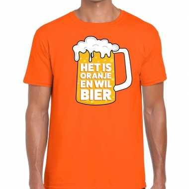 Oranje het is oranje en wil bier t-shirt heren