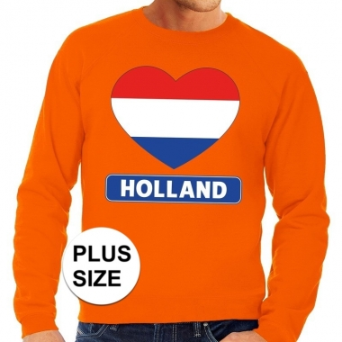 Oranje holland hart vlag grote maten sweater / trui heren