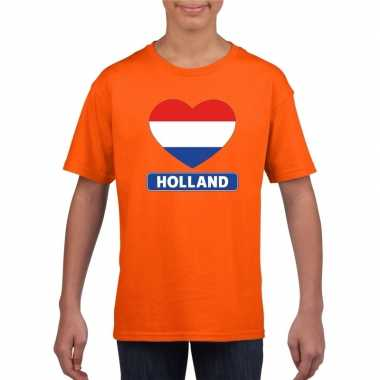 Oranje holland hart vlag shirt kinderen