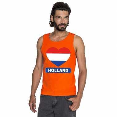 Oranje holland hart vlag tanktop heren