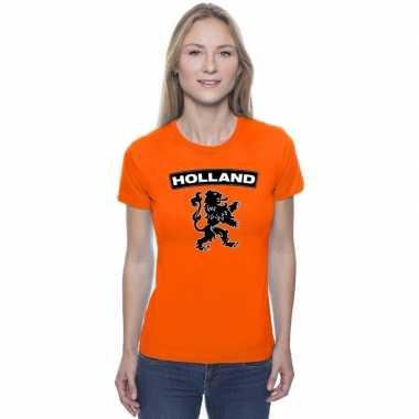 Oranje holland shirt met zwarte leeuw dames