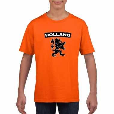 Oranje holland shirt met zwarte leeuw kinderen