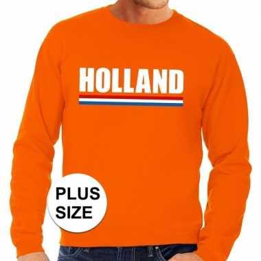 Oranje holland supporter grote maten sweater / trui heren