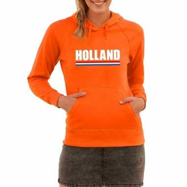 Oranje holland supporter hoodie dames