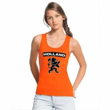 Oranje holland zwarte leeuw tanktop dames