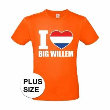 Oranje i love big willem grote maten shirt heren