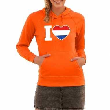 Oranje i love holland hoodie dames
