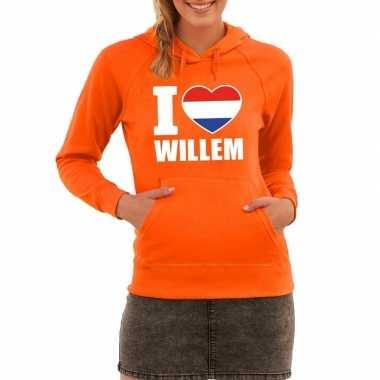 Oranje i love willem hoodie dames