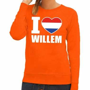 Oranje i love willem sweater dames