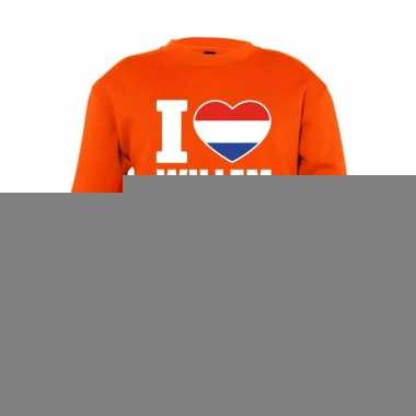 Oranje i love willem sweater kinderen