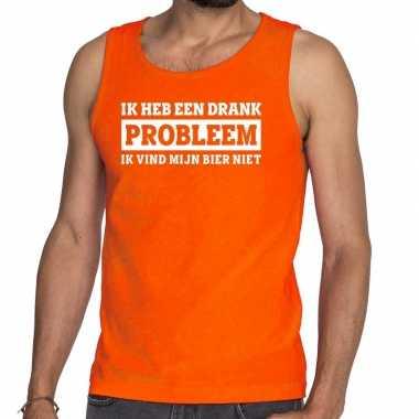 Oranje ik heb een drankprobleem tanktop / mouwloos shirt voor he