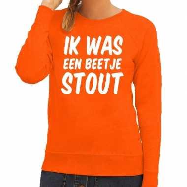 Oranje ik was een beetje stout sweater voor dames