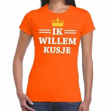 Oranje ik willem kusje t-shirt dames