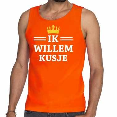 Oranje ik willem kusje tanktop / mouwloos shirt heren