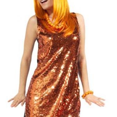 Oranje jurk met pailletten
