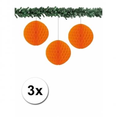 Oranje kerstversiering ballen van papier 10 cm 3 stuks