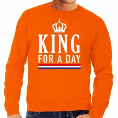 Oranje king for a day sweater voor heren