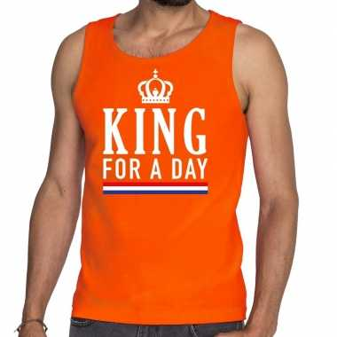 Oranje king for a day tanktop / mouwloos shirt voor he