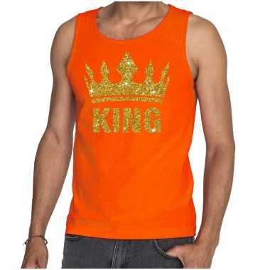 Oranje king gouden glitter kroon tanktop heren
