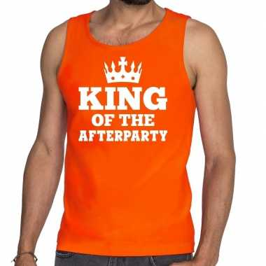 Oranje king of the afterparty tanktop / mouwloos shirt heren