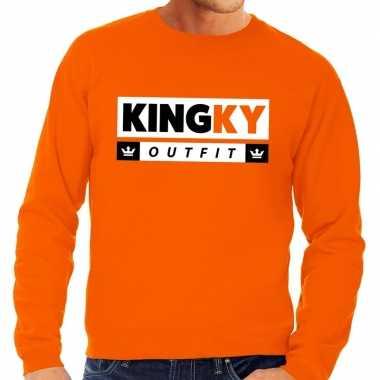Oranje kingky outfit sweater voor heren