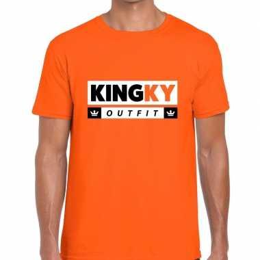 Oranje kingky outfit t-shirt voor heren