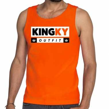 Oranje kingky outfit tanktop / mouwloos shirt voor he