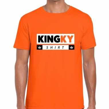Oranje kingky t-shirt voor heren
