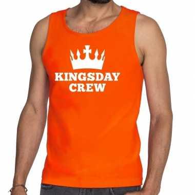 Oranje kingsday crew tanktop / mouwloos shirt voor heren