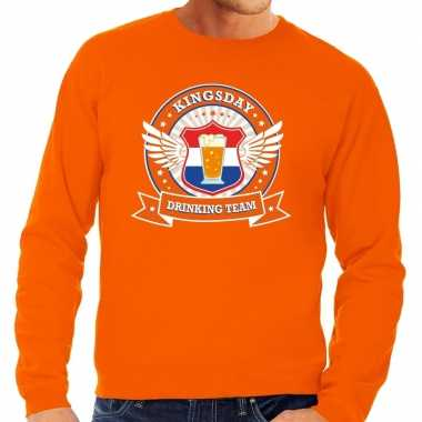 Oranje kingsday drinking team sweater heren