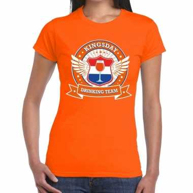 Oranje kingsday drinking team t-shirt dames
