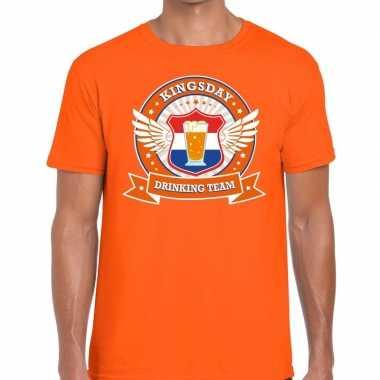 Oranje kingsday drinking team t-shirt heren