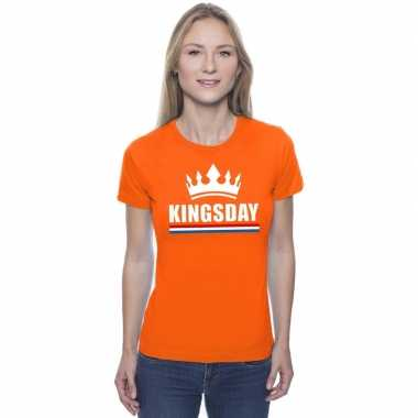 Oranje kingsday met een kroon shirt dames