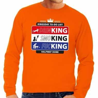 Oranje kingsday to do list sweater voor heren