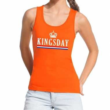 Oranje kingsday vlag tanktop / mouwloos shirt voor dames